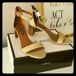 Nine West Pruce block-heel sandals (Gold Linen)